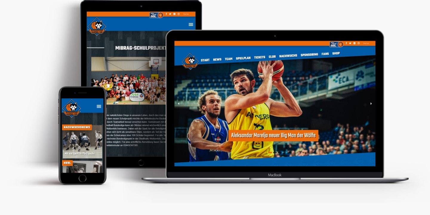 Webseite Mitteldeutscher Basketball Club